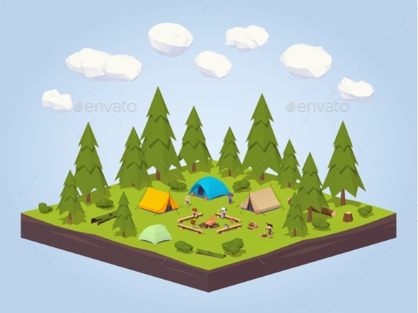 Campsite In The Woods - Travel Conceptual