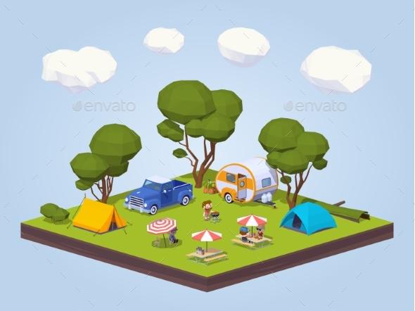Barbecue in a Tourist Camp - Travel Conceptual