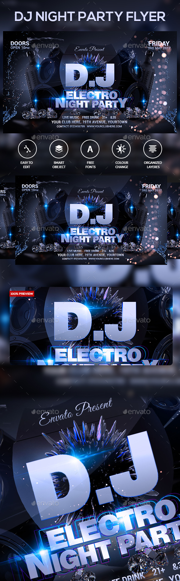 DJ Electro Festival Flyer - Clubs & Parties Events