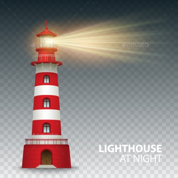 Realistic Red Lighthouse Building Isolated On - Travel Conceptual