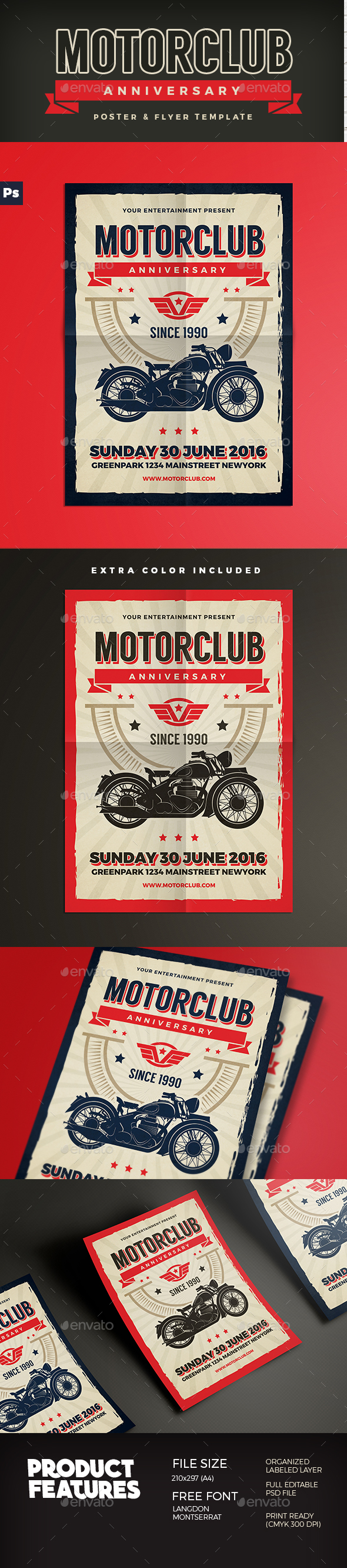 Motor Club Anniversary Event Flyer - Events Flyers