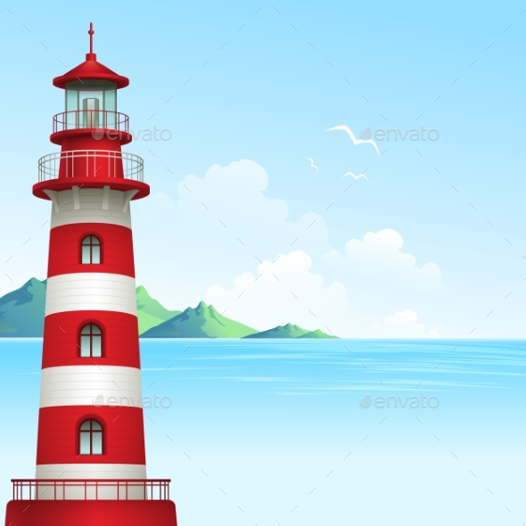 Blue Sea Background With Waves And Lighthouse - Landscapes Nature