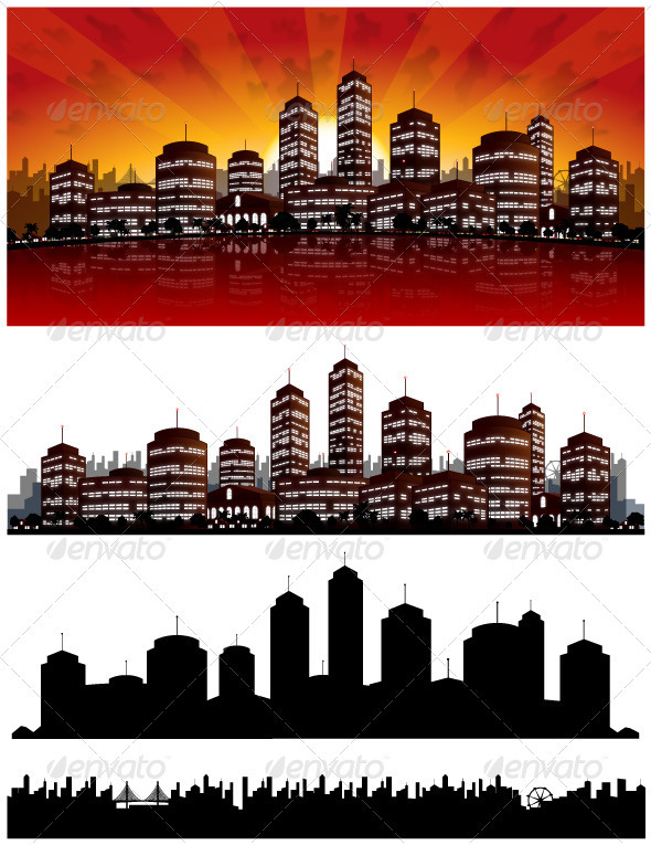 Sunset City Vector Background - Skyline - Backgrounds Decorative