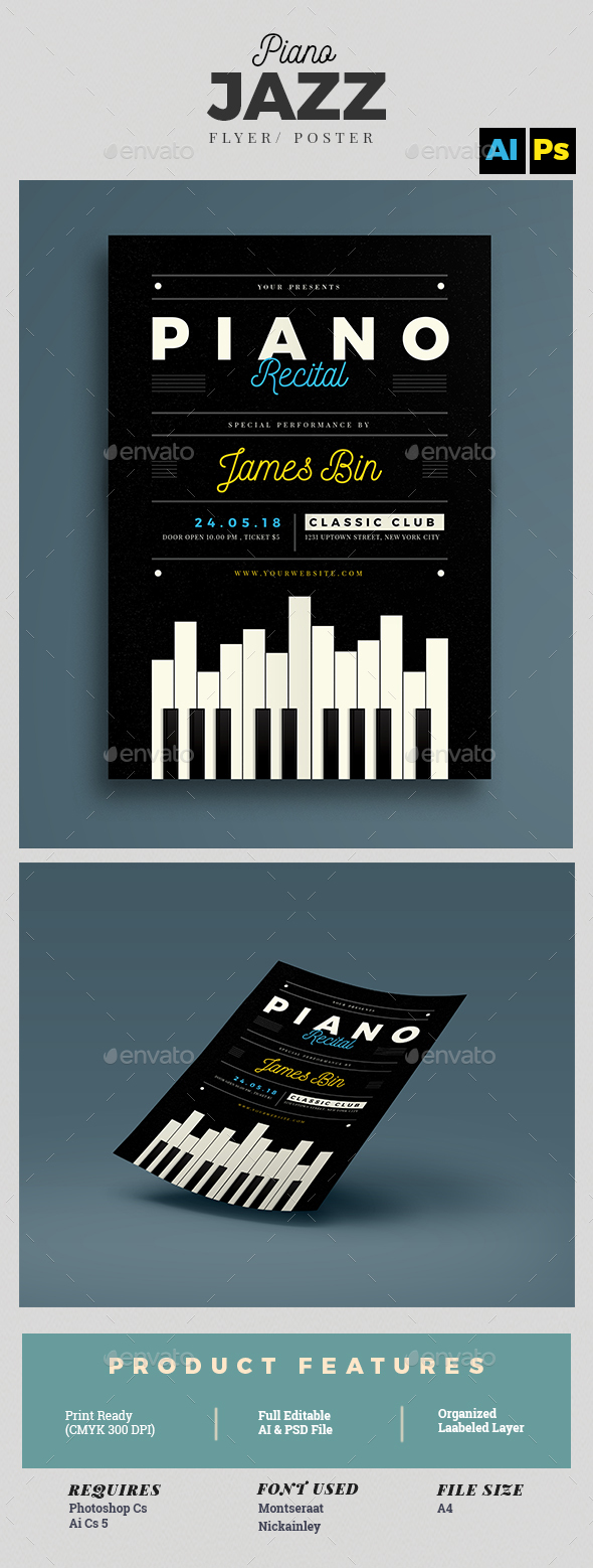 Piano Recital Flyer Template - Concerts Events
