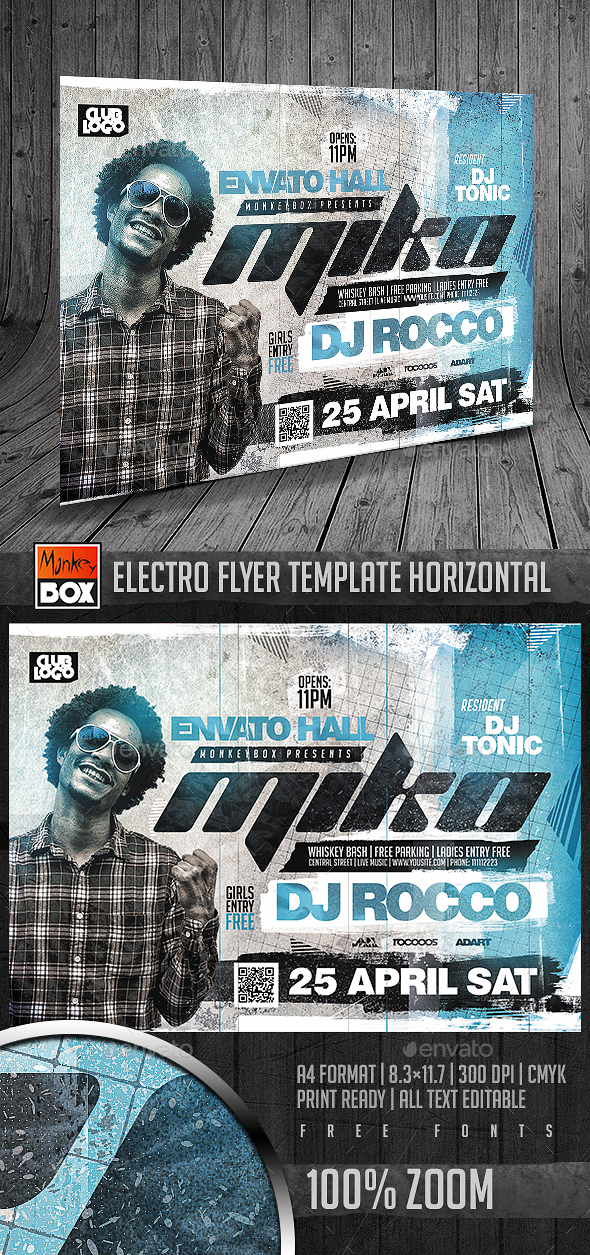 Electro Flyer Template Horizontal - Flyers Print Templates