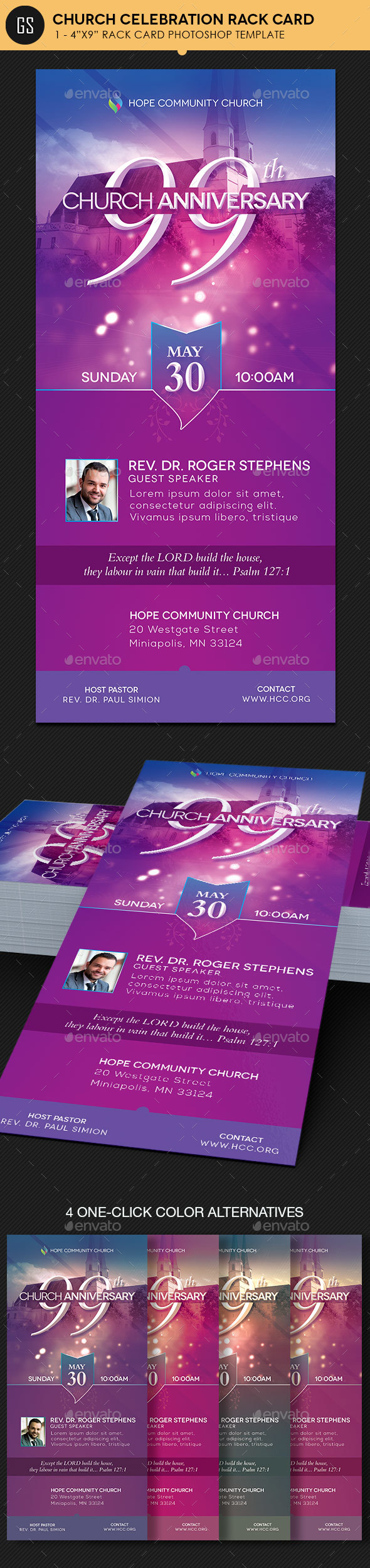 Church Celebration Rack Card Photoshop - Church Flyers