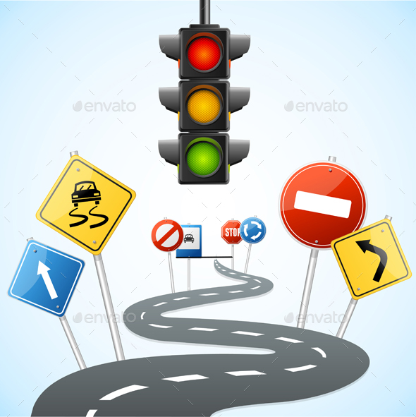 Concept of Road with Traffic Lights. Vector - Conceptual Vectors