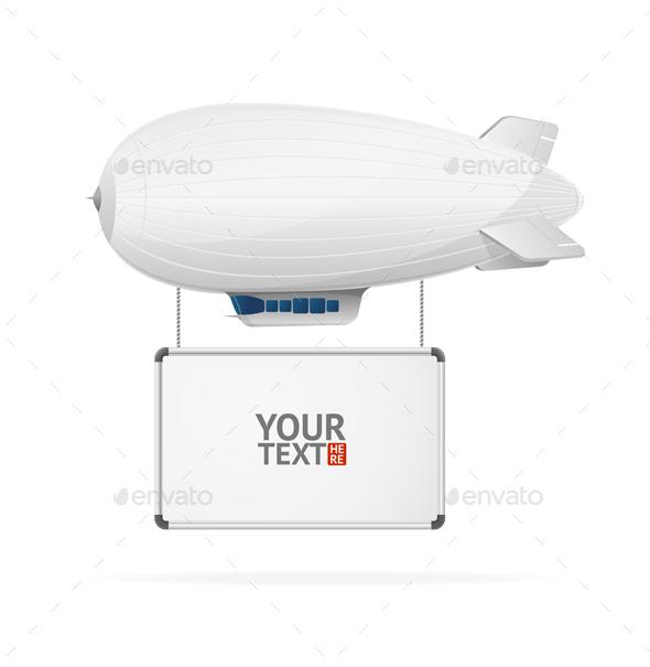 Airship Flying Banner. Vector - Conceptual Vectors