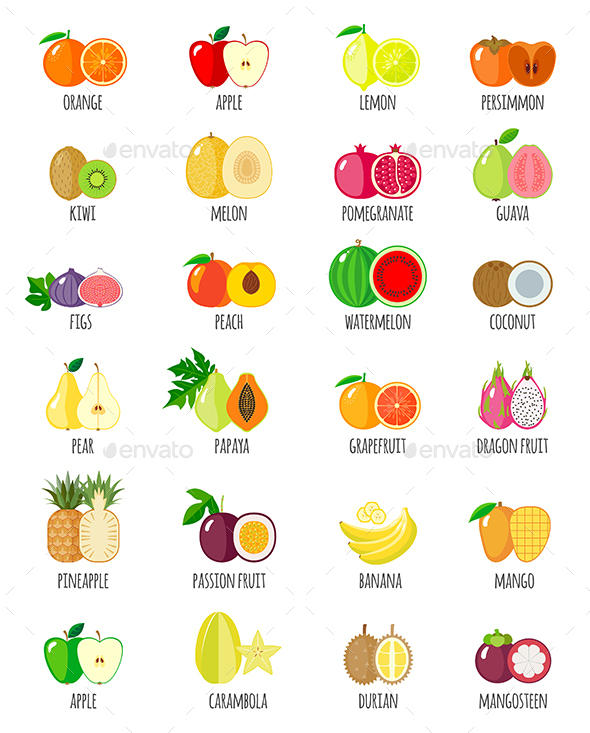 Set of Fruit Icons with their Name - Food Objects