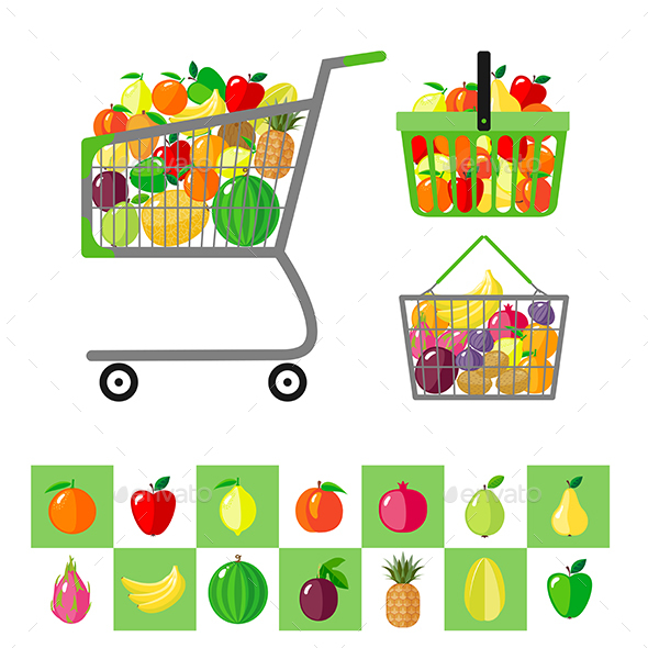 Shopping Cart and Shopping Baskets with Fruits - Food Objects