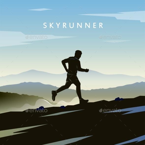 Skyrunning Vector Poster - Sports/Activity Conceptual