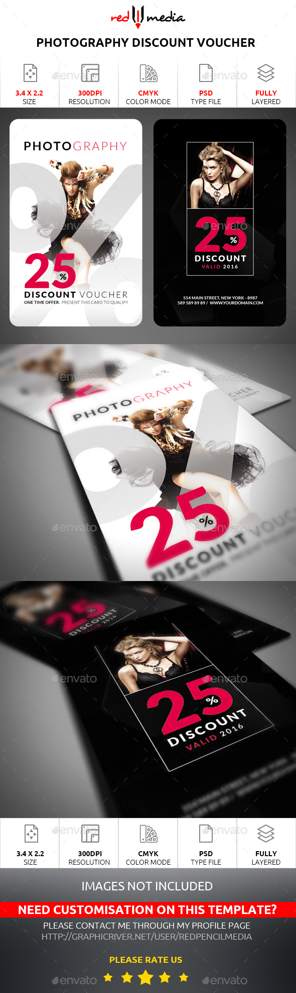 Photography Discount Voucher - Cards & Invites Print Templates