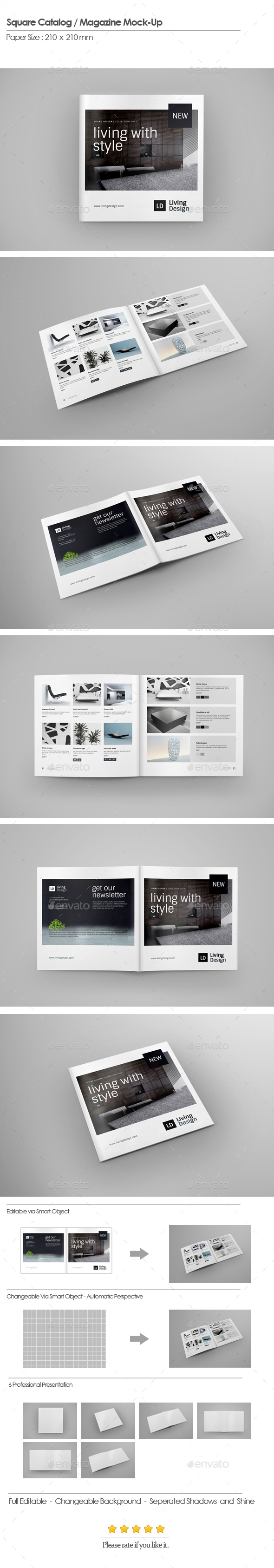 Square Catalog / Magazine Mock-Up - Brochures Print
