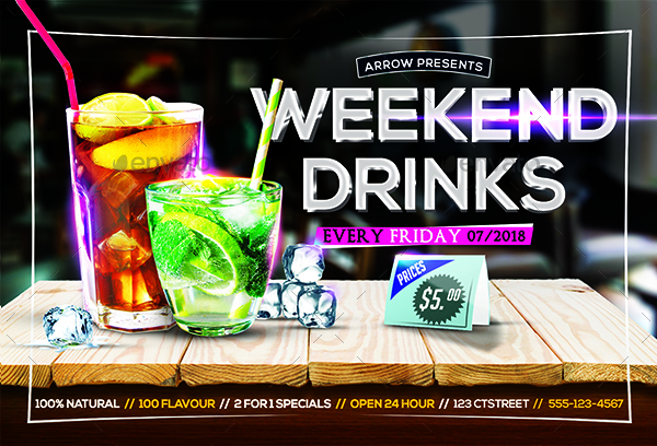 weekend drinks flyer by arrow3000