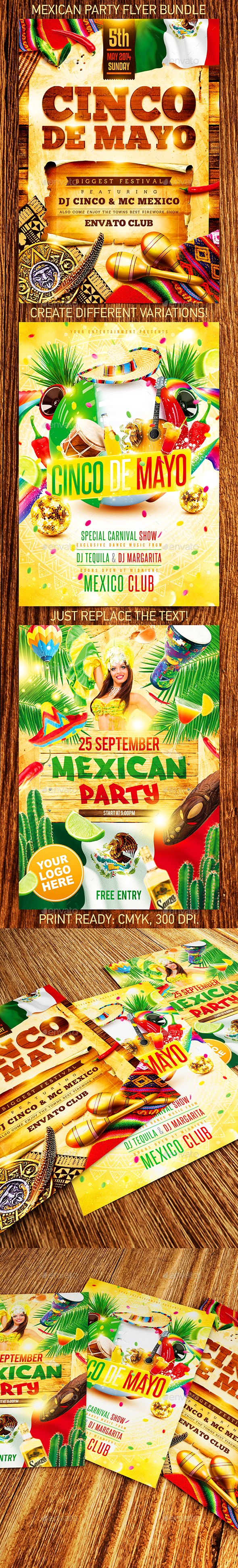 Mexican Party Flyer Bundle - Holidays Events