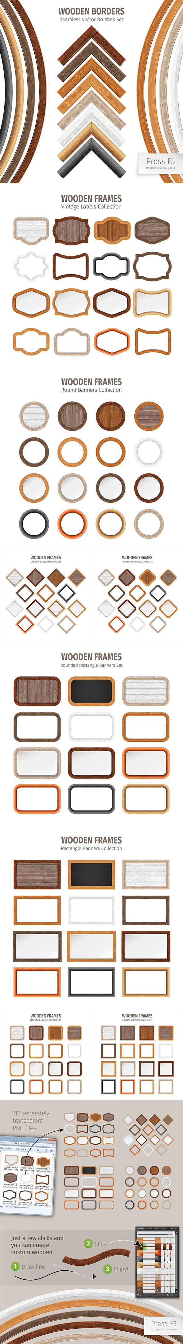 Wooden Borders Vector Brushes - Texture Brushes
