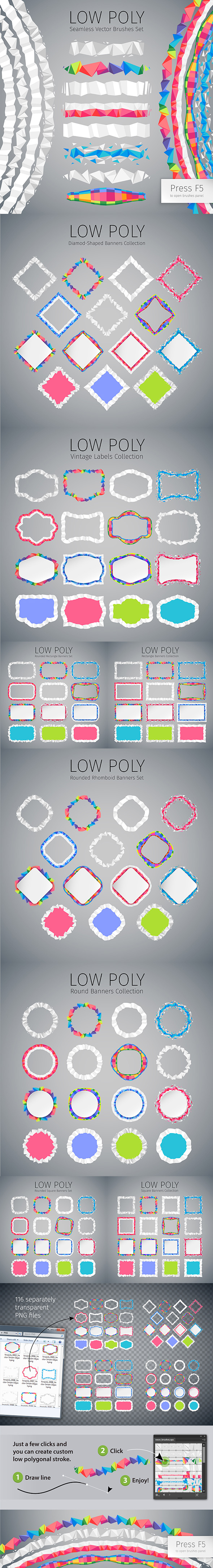 Low Poly Vector Seamless Brushes - Abstract Brushes