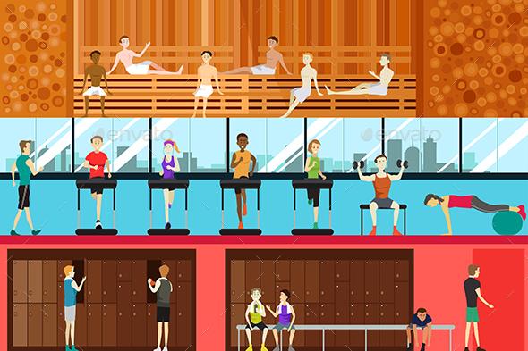 Inside Gym Scene - Sports/Activity Conceptual