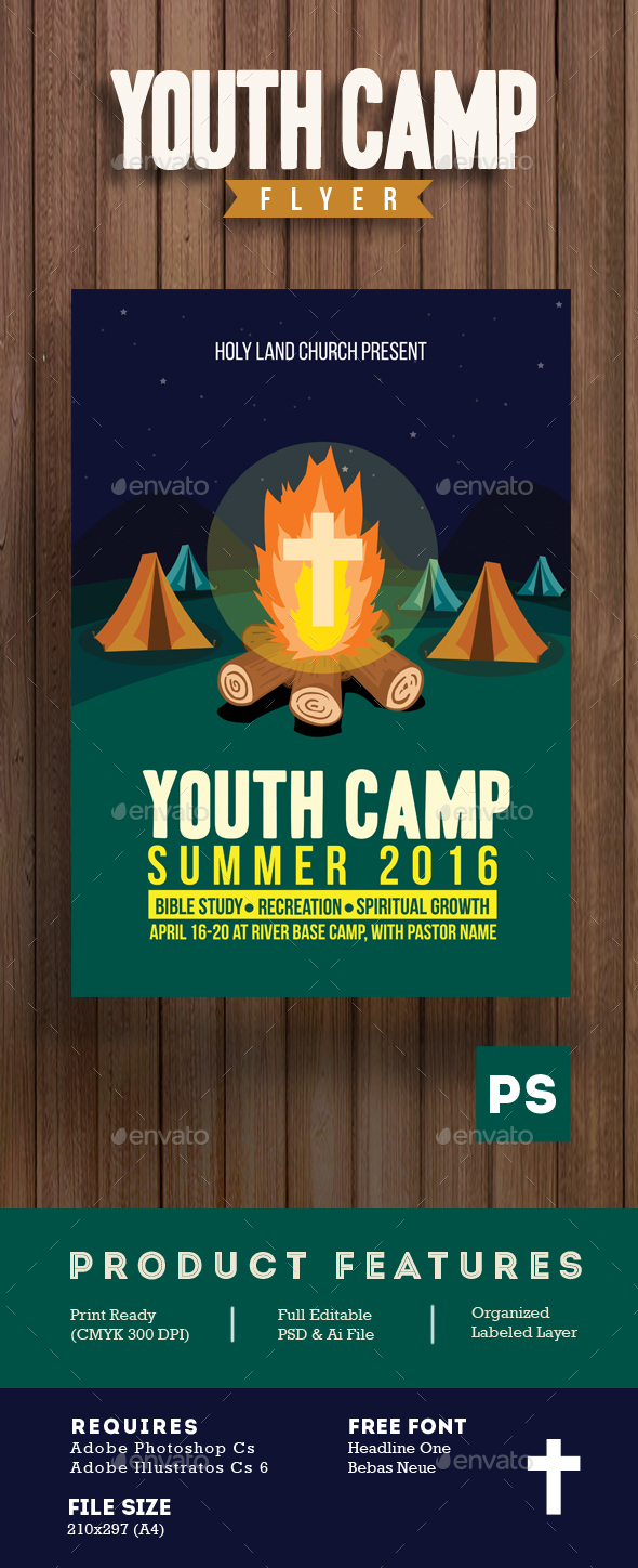 Youth Camp Church Flyer Template - Events Flyers