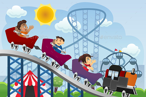 Children Playing  in a Amusement Park - Sports/Activity Conceptual