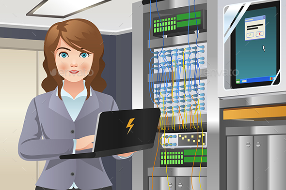 Woman Working in Computer Server Room - People Characters