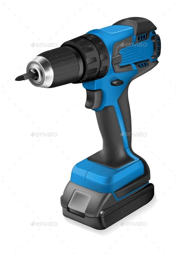 Realistic Illustration of Cordless Drill - Man-made Objects Objects