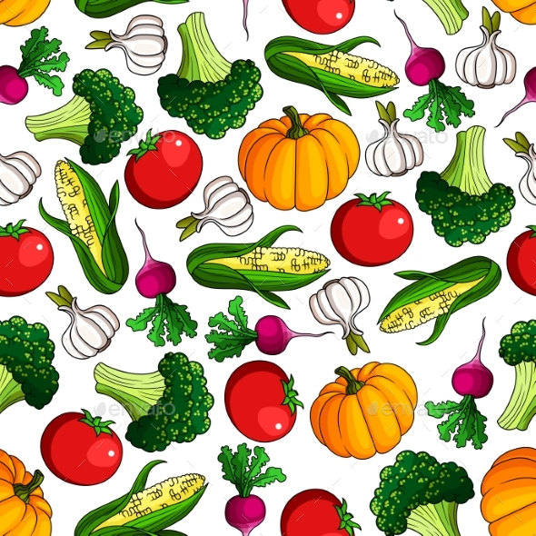 Fresh Farm Veggies Seamless Pattern - Food Objects