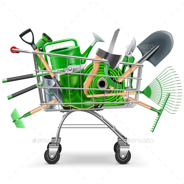 Supermarket Trolley with Garden Accessories - Retail Commercial / Shopping