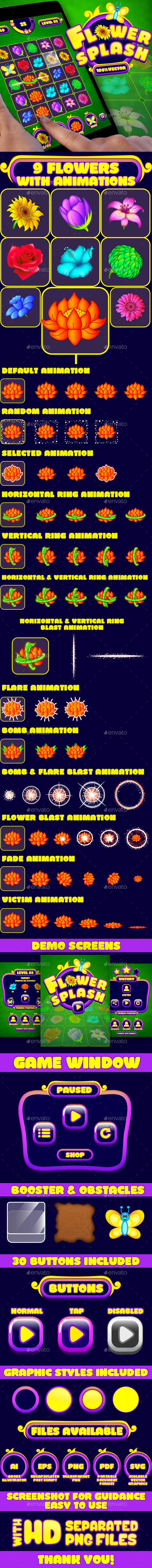 Flower Splash: Match-3 Puzzle Game UI Pack - Game Kits Game Assets
