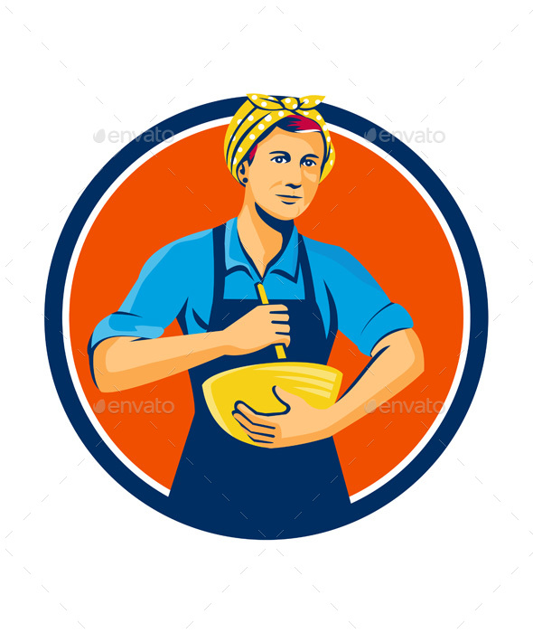 Female Chef Bandana Mixing Bowl Circle Retro - People Characters