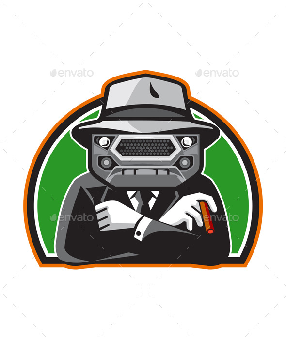 Mobster Car Grille Face Half Circle Retro - People Characters