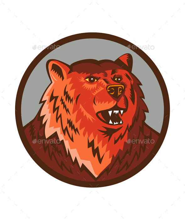 Russian Bear Head Growling Circle Retro - Animals Characters