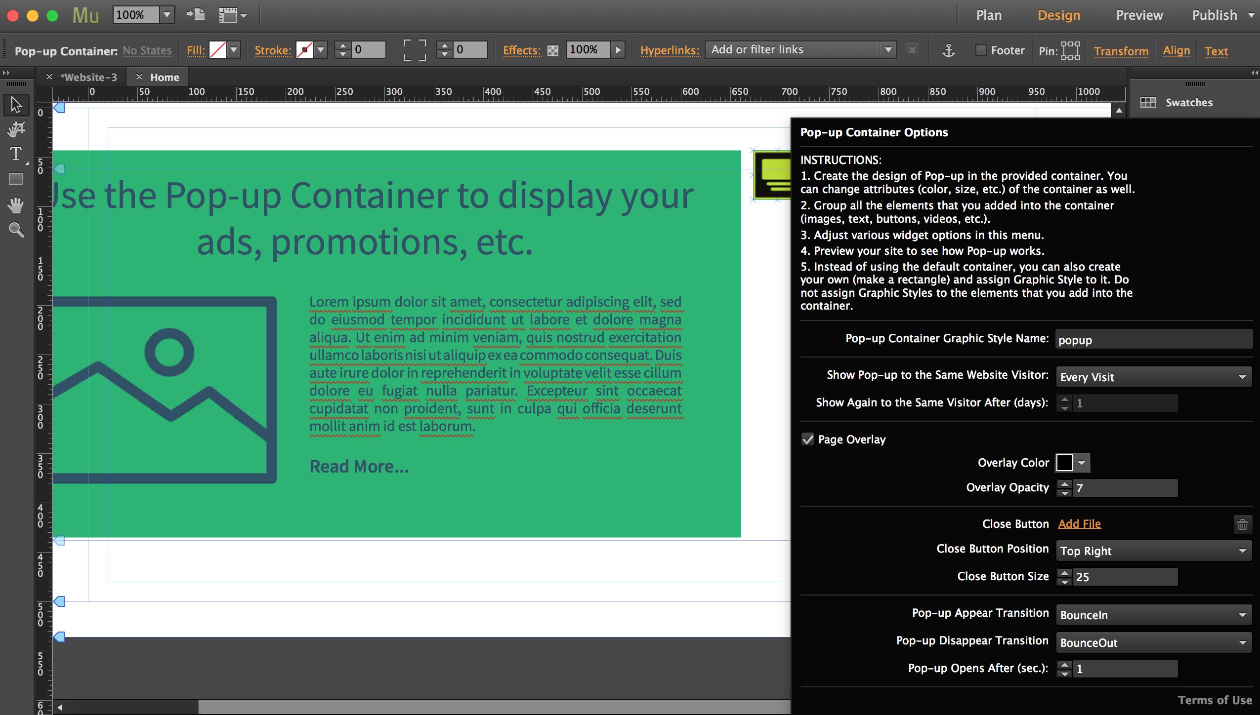 Pop-up Container Adobe Muse Widget