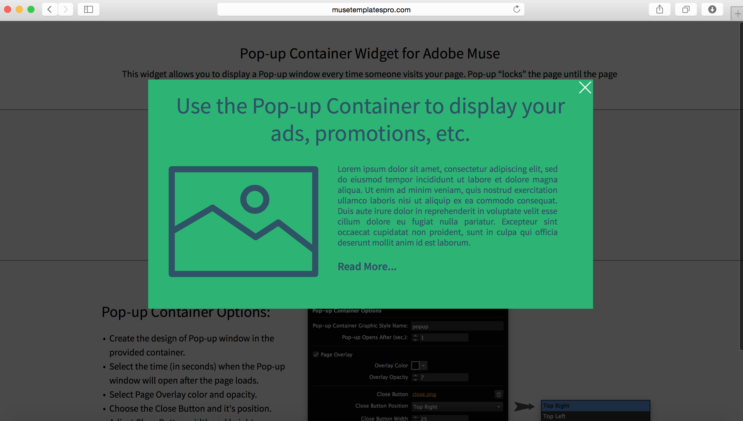 Pop-up Container Adobe Muse Widget