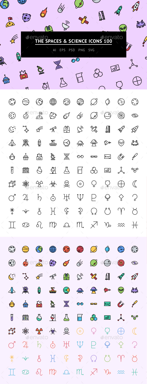 The Spaces & Science Icons 100 - Web Icons