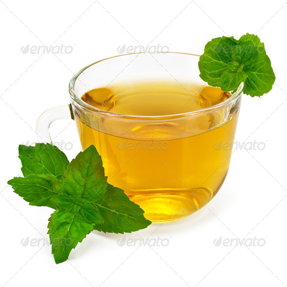Herbal tea in glass cup with mint - Stock Photo - Images