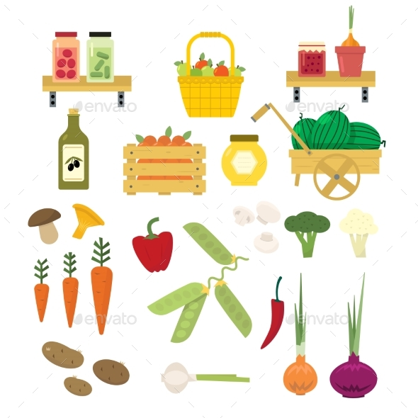 Organic Food Icons Set - Food Objects