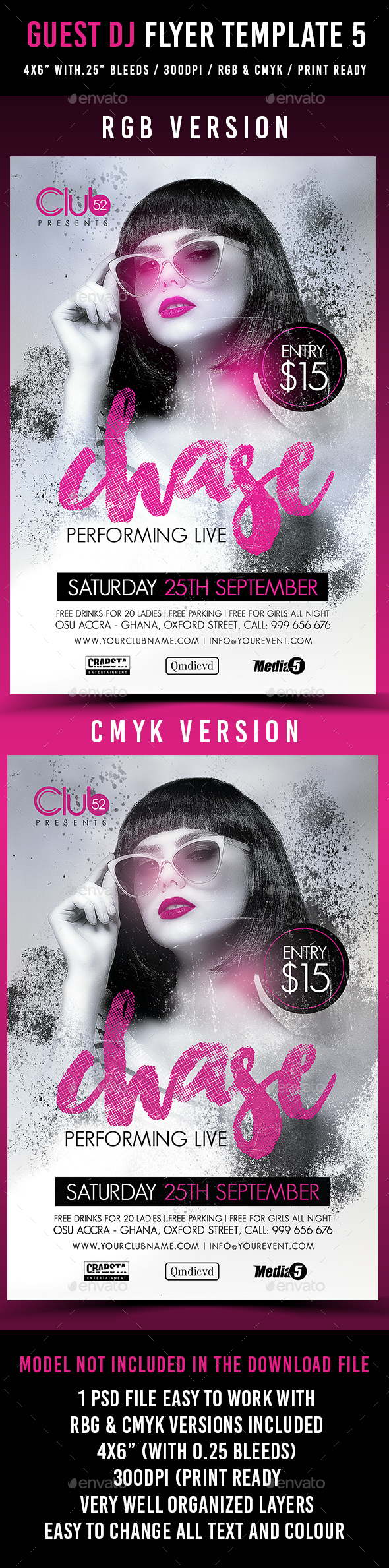 Guest Dj Flyer Template 5  - Clubs & Parties Events