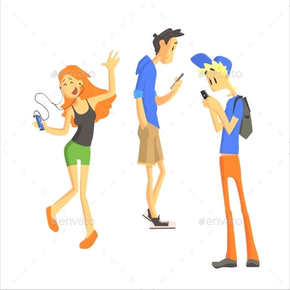 Three Young People Using Gadgets - People Characters