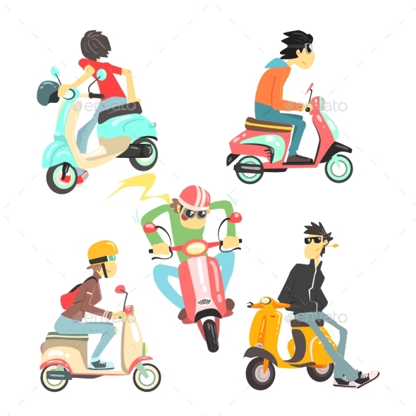 People On Scooters Set - People Characters