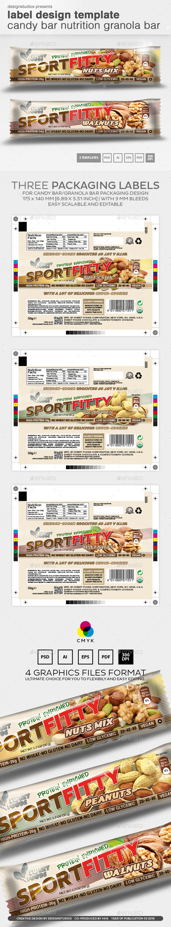 Label Design Template Candy Bar Nutrition Granola Bar - Packaging Print Templates