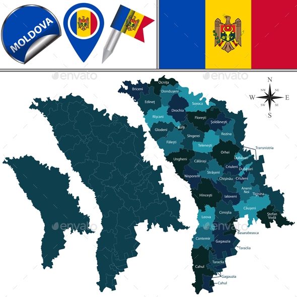 Map of Moldova with Named Divisions - Travel Conceptual
