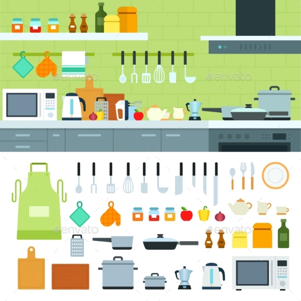 Kitchen Interior with Modern Devices - Food Objects