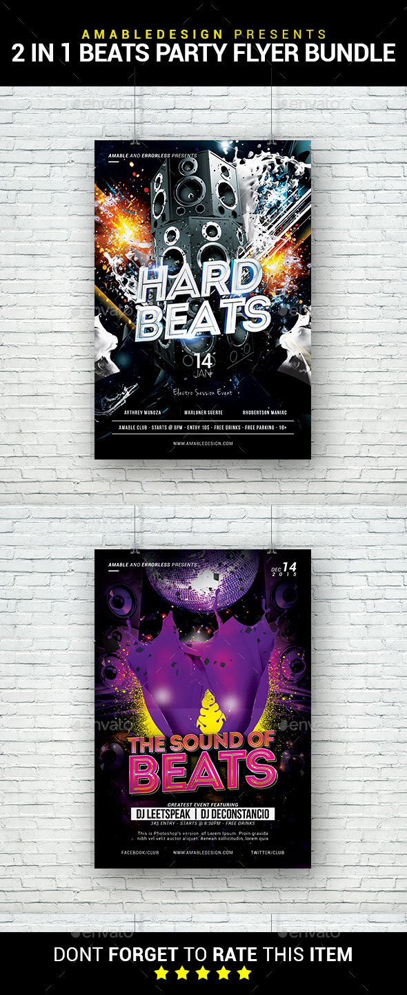 2 in 1 Beats Flyer/Poster Bundle - Clubs & Parties Events