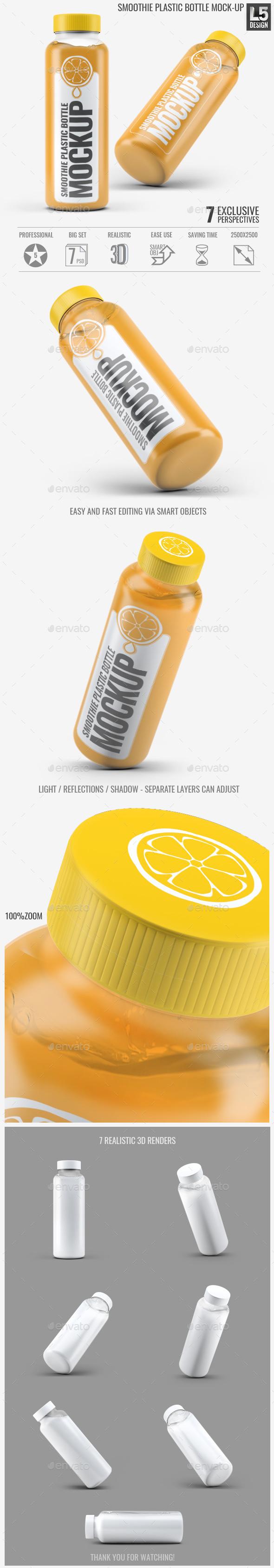 Smoothie Plastic Bottle Mock-Up - Food and Drink Packaging