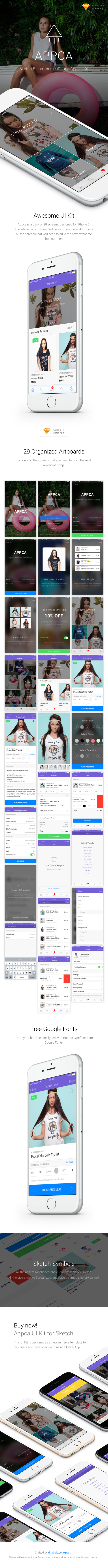 Appca - Ecommerce UI Kit for Sketch App - Sketch Templates
