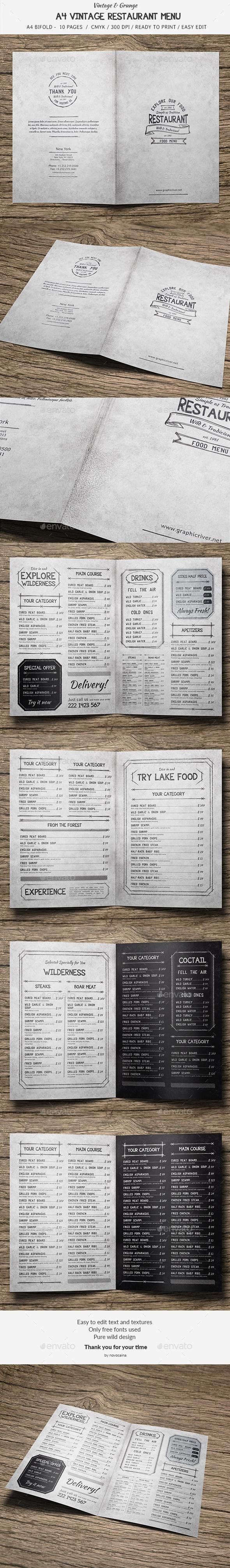 A4 BiFold Vintage Menu - 10 Pages - Food Menus Print Templates