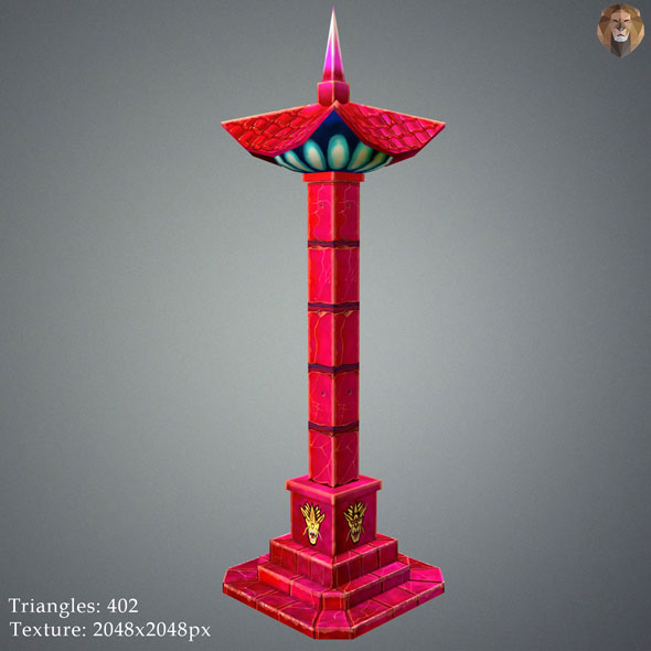 Low Poly Stylize Pillar Red - 3DOcean Item for Sale