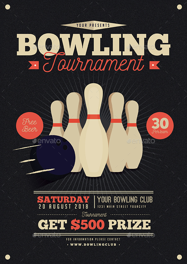 vintage bowling tournament flyer by guuver graphicriver. Black Bedroom Furniture Sets. Home Design Ideas
