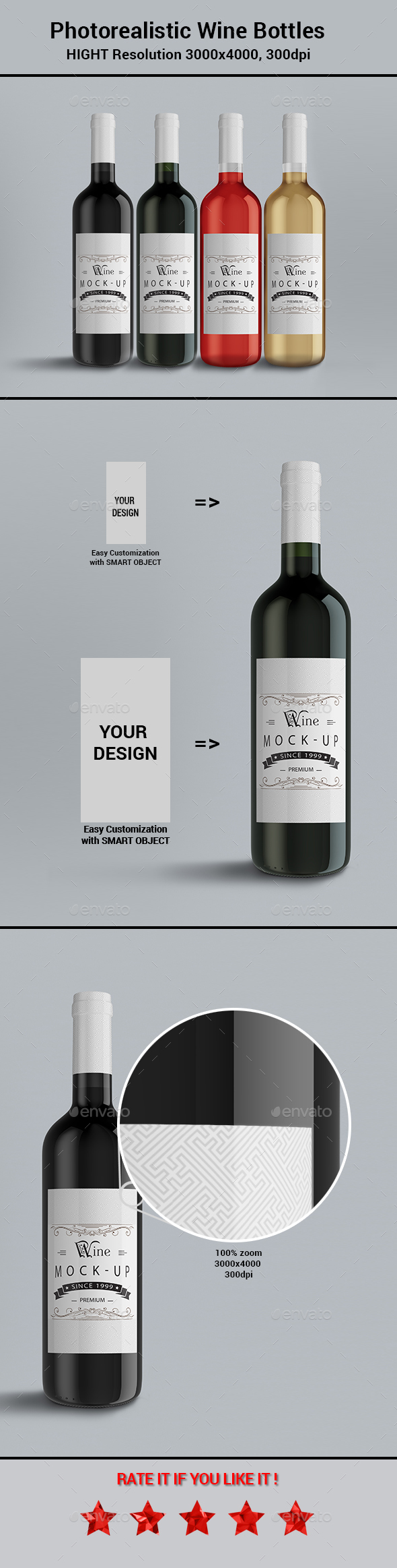 Photorealistic Wine Bottle - Food and Drink Packaging